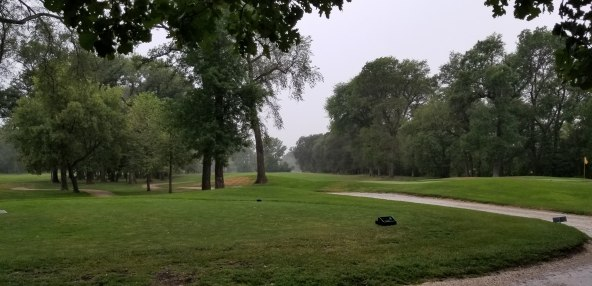 Hole 2 in the rain